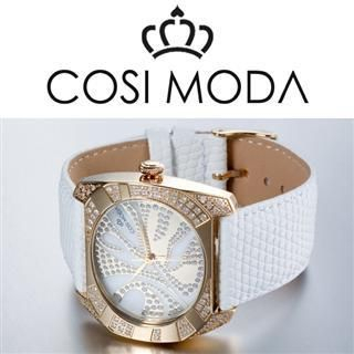 Stainless Steel Genuine Leather Strap Watch with Cubic Zirconia Gold - One Size
