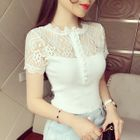 Lace Panel Ribbed Short-Sleeve T-Shirt 1596