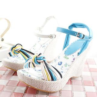 Picture of KAWO Twist-Strap Wedge Sandals 1022760018 (Sandals, KAWO Shoes, China Shoes, Womens Shoes, Womens Sandals)
