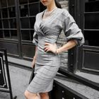 Puff-Sleeve V-Neck Plaid Sheath Dress 1596