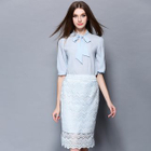 Set: Ribbon Elbow-Sleeve Top + Lace Skirt 1596