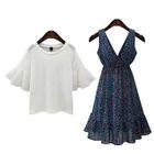 Set: Plain Bell-Sleeve T-Shirt + Print V-Neck Midi Dress 1596