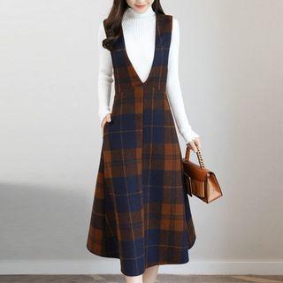 Set: Mock Neck Long-Sleeve Knit Top + Plaid A-Line Midi Pinafore Dress 1063551003