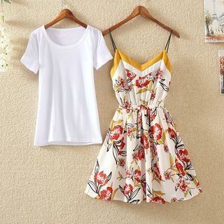 Plain Short-Sleeve T-Shirt / Floral Print Strappy A-Line Dress / Set: Short-Sleeve T-Shirt + Floral Print Strappy A-Line Dress 1060265417