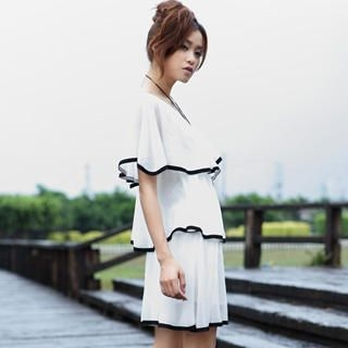 Picture of 19th Street Cape-Collar Piped Ruffle Chiffon Dress 1023052435 (19th Street Dresses, Womens Dresses, China Dresses, Chiffon Dresses)