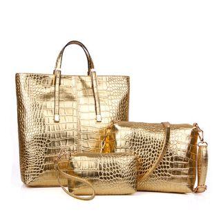 Set: Faux-Leather Handbag + Shoulder Bag + Pouch 1064456528