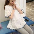 Maternity Lace Panel Short-Sleeve Dress 1596