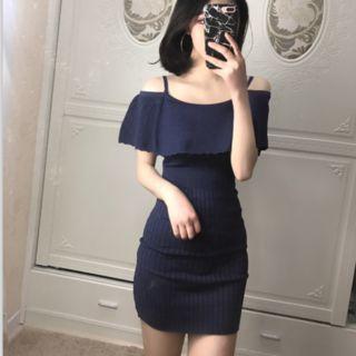 Short-Sleeve Off-Shoulder Layered Knit Dress 1058380771
