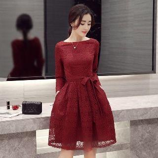 Long-Sleeve Tie-Waist Dress 1057457441