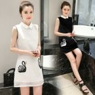 Embroidered Collared Sleeveless Dress 1596