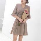 V-Neck Tie-Waist A-Line Mini Dress 1596