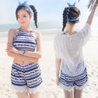 Set: Patterned Bikini + Cover-Up + Shorts 1596