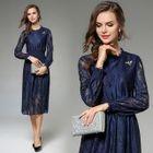 Long-Sleeve Midi Lace Dress 1596