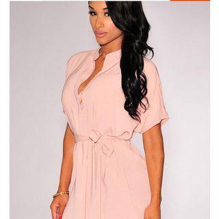 Short-Sleeve V-Neck Dress 1050908720