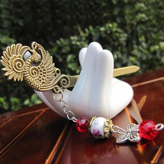 Image of Ceramic Bead Alloy Phoenix Hair Stick As Shown In Figure - One Size
