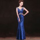 Sleeveless Glitter Evening Gown 1596
