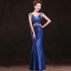 Sleeveless Glitter Evening Gown 1596