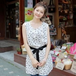 Buy CLICK Bow Patterned Sleeveless Dress 1022908008