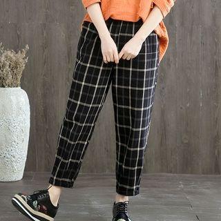 Cropped Plaid Straight-Cut Pants 1065610496