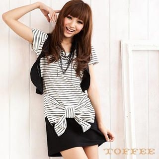 Buy TOFFEE Inset Bow-Accent Stripe Dress Vest 1022869526