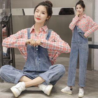 Long-sleeve   Maternity   Plaid   Shirt   Jean   Set