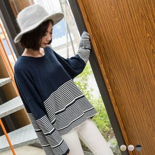 Striped Drop Shoulder Knit Top 1053001616