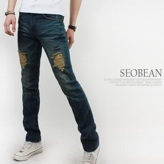 Picture of SEOBEAN Distressed Straight-Cut Jeans 1022764190 (SEOBEAN, Mens Denim, Korea)