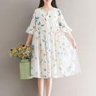 Elbow-Sleeve Floral Dress 1596