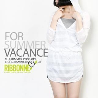 Buy Ribbonne Striped Hooded V-Neck Long Top 1022842824