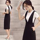 Set: Plain Short-Sleeve T-Shirt + Midi Pinafore Dress 1596