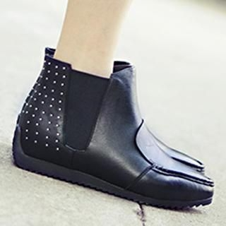 Studded Genuine Leather Ankle Boots
