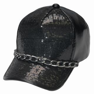 Buy GRACE Chain-Accent Sequined Baseball Cap Black – One Size 1022173480