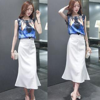 Set: Printed Sleeveless Top + Plain Skirt 1051633887