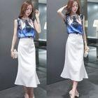 Set: Printed Sleeveless Top + Plain Skirt 1596