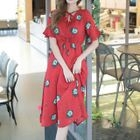 Print Frill Sleeve Chiffon Dress 1596