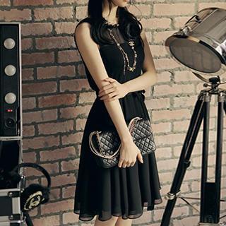 Sleeveless Tie-Waist Chiffon Dress 1038529392