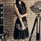 Sleeveless Tie-Waist Chiffon Dress 1596