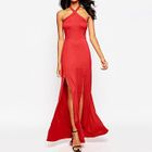 Halter Slit Maxi Party Dress 1596