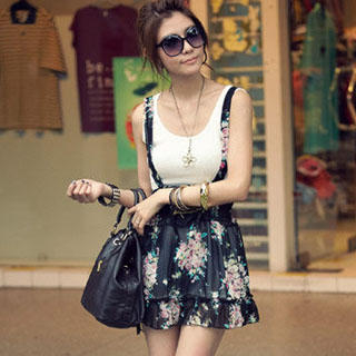 Buy PUFFY Set: Floral Print Jumper Skirt + Tank Top Black – One size 1022907242