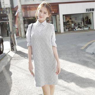 Ribbed Sleeveless Knit Dress 1055032412