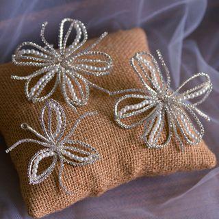 Rhinestone | Bridal | Flower | White | Size | One | Set