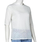 Elbow-Sleeved Lace T-Shirt 1596