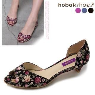 Buy HOBAK girls Open-Toe Flower-Print Pumps 1022752807