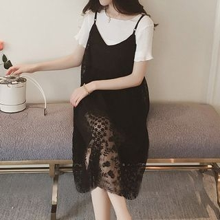 Set: Ribbed Short-Sleeve T-Shirt + Lace Spaghetti Strap Dress 1060323722