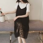 Set: Ribbed Short-Sleeve T-Shirt + Lace Spaghetti Strap Dress 1596