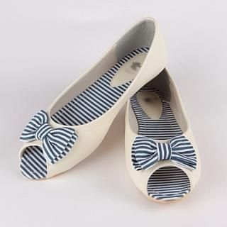 Picture of CLICK Striped Bow Peep-Toe Flats 1022792373 (Flat Shoes, CLICK Shoes, Korea Shoes, Womens Shoes, Womens Flat Shoes)