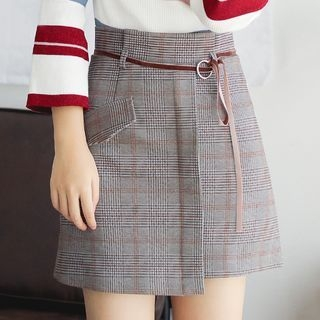 Plaid Asymmetrical A-Line Skirt with Cord 1063231383
