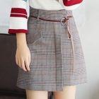 Plaid Asymmetrical A-Line Skirt with Cord 1596
