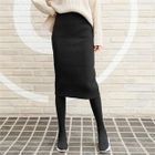 Ribbed H-Line Knit Midi Skirt 1596