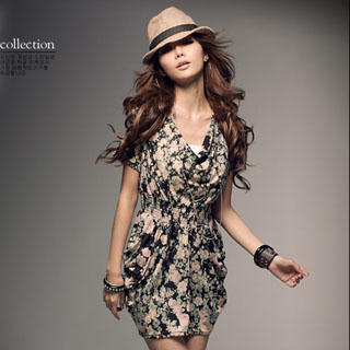 Picture of PUFFY Drape Front Floral Print Dress 1023030408 (PUFFY Dresses, Womens Dresses, Taiwan Dresses)